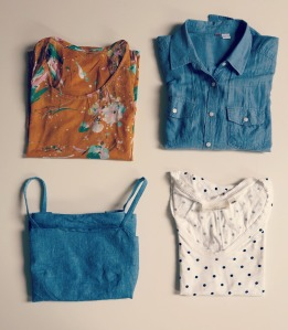 1. handmade floreal top 2. chambray shirt RTW 3. chambray handmade camisole 4. t-shirt RTW
